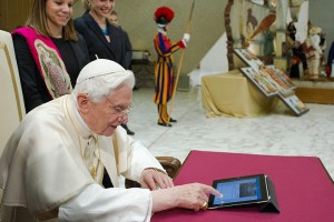 The pope sends his first tweet