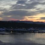 Sol nedgang fra Oslo fjord